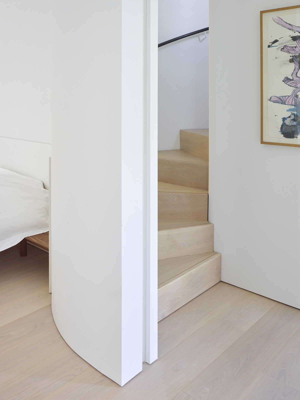 timber minimal curved stair