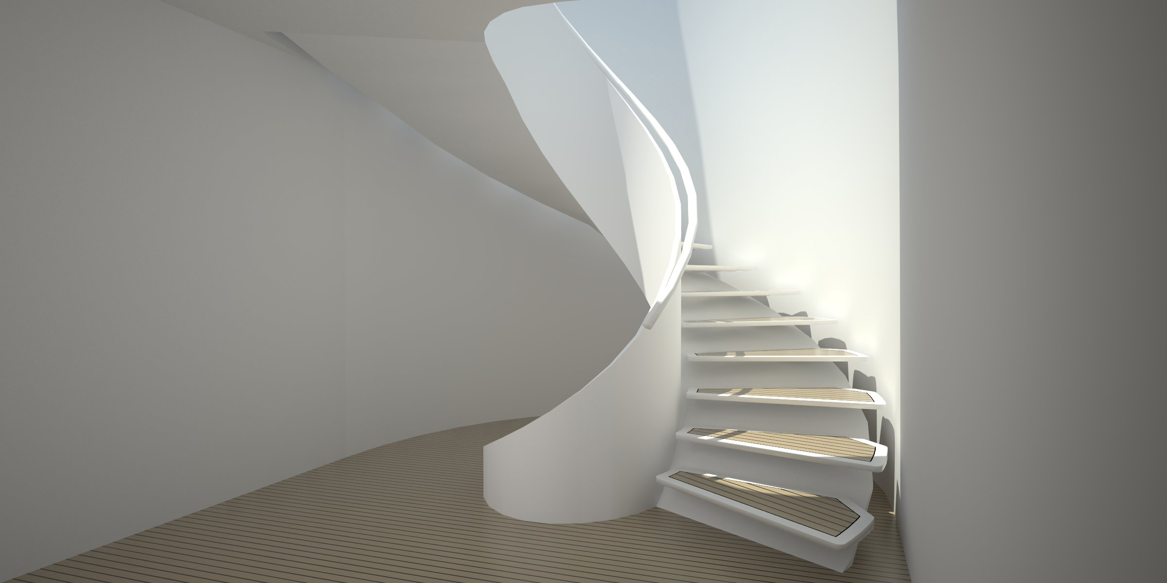 Yacht Style Helical Staircase Lightwell